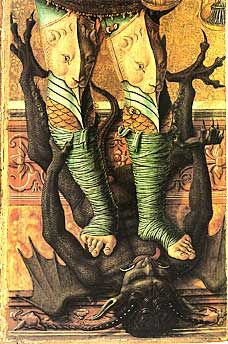 Carlo Crivelli's 1476 St. Michael, part of a polyptych that comprised the high altarpiece for San Domenico in Ascoli Piceno. We see the fallen angel Lucifer in the form of a semi-human dragon who was once head of the Order of Virtues but who lost favor with God & was expelled from Heaven. In this depiction, which occurred frequently in Medieval art, St. Michael, representing Christ in battle with the Antichrist, wears a coat of armor & holds a spear over the horned, winged & clawed Devil.