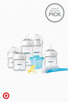This infant bottle starter set by Philips Avent is the perfect kit for parents new to bottle-feeding. No wonder it's a Mom's Registry Pick! It includes two 9-oz. bottles and three 4-oz. bottles with newborn nipples (all BPA free), plus a formula dispenser, pacifier and bottle brush.