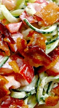 Bacon, Tomato and Cucumber Salad by simplyhealthyhome: Like a BLT without the bread. #Salad #BLT #Cucumber