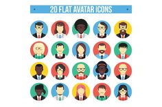 Check out 20 Flat Avatar Icons by Magurok on Creative Market