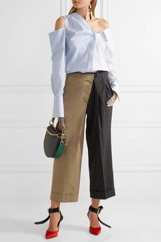 Monse - Paneled Cotton-twill And Pinstriped Wool Wide-leg Pants - Charcoal - US12
