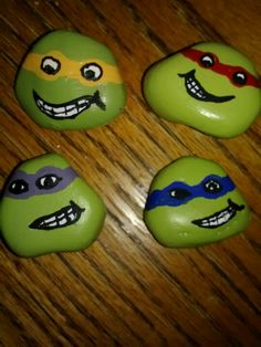 The gang :) it's easy to find these shaped rocks, they reminded me of the ninja turtles. Acrylic paint is all it took to snazz them up