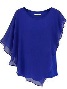 Blue Short Sleeve Ruffles Batwing Chiffon Blouse