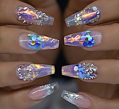 Glass look clear chrome holographic crystal long coffin nails