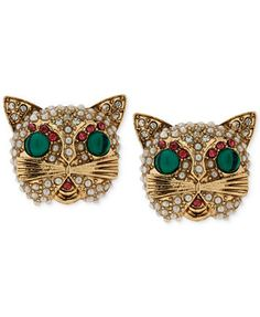 Betsey Johnson Gold-Tone Multicolor Crystal Cat Stud Earrings