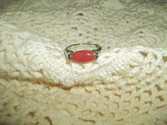 Sleek Elegant Silver Ring With A Red by GrammyKayesCreations