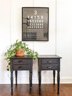Dated drop leaf tables get a vintage modern makeover with new paint and hardware! #paintedfurniture #beforeandafter #blackfurniture #thriftytransforms #furnituremakeover