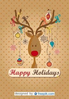 Reno feliz hecho árbol de navidad