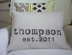 Last name and wedding date...on canvas, burlap, muslin...very cute!Great gift idea!