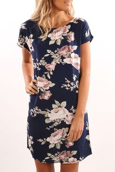 In The Air Dress Navy Floral