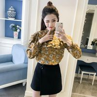 Cute Ladies Ruffles Blouse Vintage Shirt Women Tops Spring Summer Layers Ruched Chemise Femme Chemisier Camicia Donna Blusa Muje