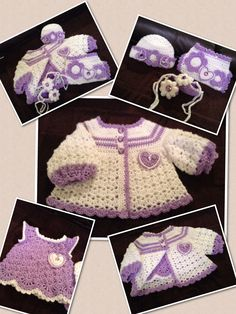 Hearts and Flowers Baby Set.  Coat, Dress, hat, Diaper Cover and Booties with Crystal Buttons.  Lavender and White. Original from Kats Hats