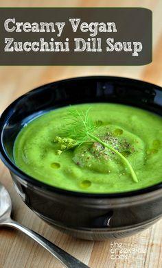 Simple delicious & healthy! Creamy Vegan Zucchini Dill Soup | The Creekside Cook | #glutenfree #vegan #vegetarian