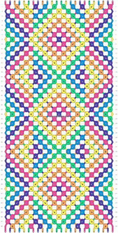Normal friendship bracelet pattern added by KrazyKnotz. x line lines colorful ombre gradient dot dots triangle triangles diamond diamonds rainbow. Floss Bracelets, Diy Bracelets Patterns, Diy Bracelets Easy, String Bracelet Designs, Diy Friendship Bracelets Patterns, Embroidery Bracelets, Alpha Patterns, Bracelet Tutorial, Loom Beading