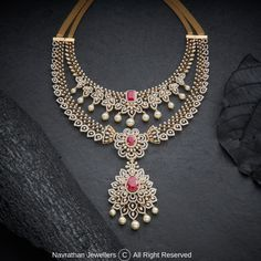 Navrathan - is one of the India's foremost, Gold & Diamond jewellery store located in Bangalore, India since We have an exquisite collection of wedding jewellery. Diamond Necklace Simple, Diamond Jewelry, Gold Jewelry, Diamond Necklaces, Emerald Diamond, India Jewelry, Temple Jewellery, Diamond Pendant, Jewelry Findings