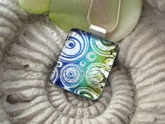 Contemporary Necklace -  Dichroic Glass Pendant - Dichroic Fused Glass Jewelry -  Necklace - Fused Glass - Dichroic Glass - 051912p106