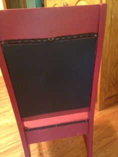 """Chalkboard back.  This will be """"birthday chair""""-  with birthday message on chalkboard."""
