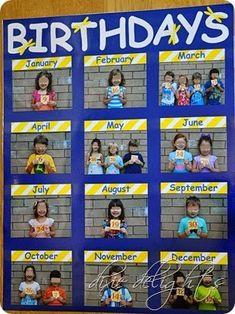 Education/Kindergarten/Preschool Classroom Birthday Picture Chart Free Printable How To Choose The R Classroom Organisation, Classroom Displays, Daycare Organization, Class Displays, Book Displays, Library Displays, Beginning Of School, Back To School, Primary School