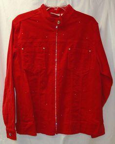 Red size M Holiday Pinwhale Corduroy Jacket Rhinestones NEW QUACKER FACTORY  #QuackerFactory #BasicJacket