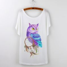 Owl Animal Print Harajuku 2016 Loose Tshirt Women T-shirt plus size Lady Tops Short Sleeve O-neck Casual Tee Shirt Female White #T-Shirts #Tees