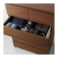 MALM 6-drawer chest - brown stained ash veneer - IKEA
