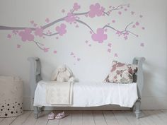 """Beautiful cherry blossom wall stickers from Bambizi are a subtly stylish way to decorate a room - Fabulous Finds for a Girl's Room"""" Nursery Accessories, Interior Accessories, Kids Room Furniture, Princess Room, Kids Decor, Home Decor, Decor Ideas, Little Girl Rooms, Bed Design"""