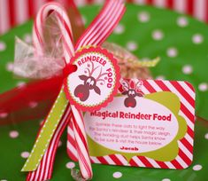 """FREE Printable Reindeer Food Magical Reindeer Food  Instructions:  """"Sprinkle on the lawn at night, The moon will make it sparkle bright, As Santa's reindeer fly and roam, This will guide them to your home.""""  Reindeer Food is Oatmeal, Christmas colored sugar, Christmas sprinkles & Glitter.  Includes instructions to make."""