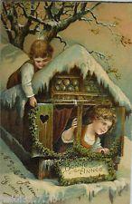 """""""Neujahr, Kinder, Eiszapfen, Haus, Girlande"""" 1900, Prägekarte ♥ (14862)"""