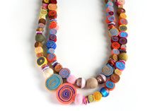 Colourful Double Strand Felted Beads Necklace Rainbow by BeadABoo