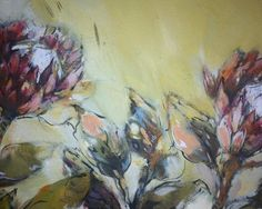 Fresh protea by Liesel Brune Flower Art, Oil On Canvas, Fresh, Drawings, Flowers, Painting, Sketches, Art Floral, Painted Canvas