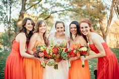 mismatched orange palette bridesmaids dresses   Kim & Jess' locally sourced, personalized rustic chic barn wedding at Murray Hill in Leesburg, VA   Images: Jordan Baker Photography