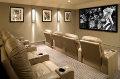 Home theaters quarto Inexpensive Small Movie Room Design Ideas For Family 20 Home Theaters, Home Cinemas, Movie Theater Rooms, Home Theater Seating, Home Theater Design, Movie Rooms, Cinema Room, Theatre Rooms, Media Room Design
