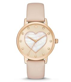 kate spade new york Metro Heart Analog Leather-Strap Watch