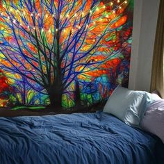BLEUM CADE Colorful Tree Tapestry Wall Hanging Psychedelic Forest with Birds Wall Tapestry Bohemian Mandala Hippie Tapestry for Bedroom Living Room Dorm Colorful Tapestry, Bohemian Tapestry, Colorful Trees, Mandala Tapestry, Tapestry Bedroom Boho, Bohemian Dorm, Tree Wall Decor, Wall Art Decor, Wall Murals