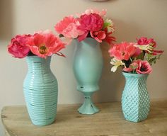 3 upcycled aqua blue vases ... shabby chic Romantic cottage Wedding or decor