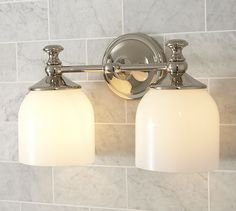 Horizontal Bathroom Sconces mercer double horizontal sconce, satin nickel finish | pottery