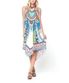Loving this Blue Handkerchief Yoke Dress on #zulily! #zulilyfinds
