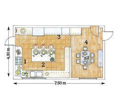 La amplitud de esta cocina permitió incluir una práctica isla central rodeada por las zonas de cocción, fregadero y almacenamiento. Además, en una habitación anexa cuenta con un amplio office...