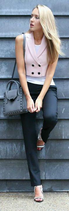 pink cropped vest, white graphic tank, black slim fit pants, white ankle strap sandals + cross body bag {marissa webb, milly, theory, l.a.m.b., loeffler randall}