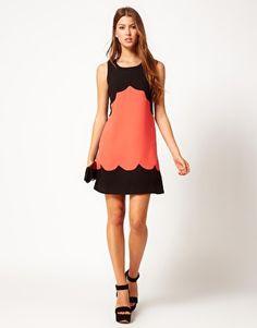 Enlarge Lipsy Scalloped Crepe Shift Dress