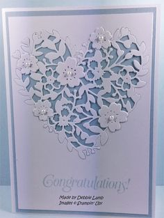 Express Yourself with Dahlias (Deb's Stampin' Style) This card features the gorgeous Bloomin' Heart framelits die that I'm head over heels for. It's perfect for wedding cards, anniversary cards, feminine birthdays and valentines day. It's coordinates w Anniversary Cards For Couple, Wedding Anniversary Cards, Aniversary Cards, Wedding Cards Handmade, Bridal Shower Cards, Embossed Cards, Stamping Up Cards, Heart Cards, Love Cards