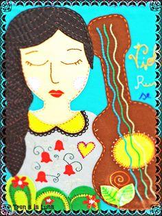 Cuadro textil, pañolenci, mostacillas, cintas y puntadas Textiles, Holi, Guitar, Kids Rugs, Embroidery, Latina, Artist, Posters, Inspiration