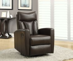 Recliner - Swivel Glider / Dark Brown Bonded Leather. This contemporary design accent chair combines 3 functional elements.....it swivels......it glides.....and it reclines, ensuring that you are always in a comfortable position. This dark brown bonded leather chair comes with a padded head rest, designed for ultimate comfort. The easy glide motion and the contemporary design make this recliner a multi-functional and fashionable addition for your den, bedroom, living room or basement. It…