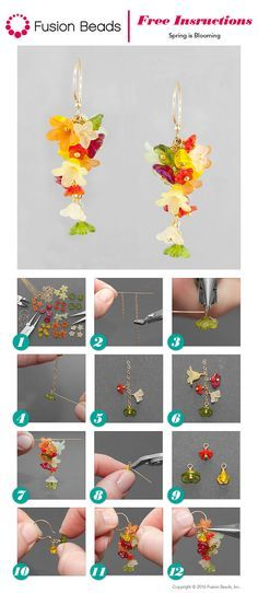 Spring is Blooming Earrings Inspiration Project - RETIRED I can't get over how cute these new DIY Spring is Blooming earrings are! The colorful Czech glass and Lucite bead dangles make them the perfect design for spring. Lucite Flower Earrings, Tiny Stud Earrings, Beaded Earrings, Earrings Handmade, Beaded Jewelry, Handmade Jewelry, Hoop Earrings, Beading Tutorials, Beading Patterns