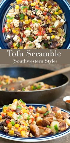 Tofu Scramble - vegan breakfast recipe full of flavors & nutrition. The southwestern flavors in this scrambled tofu recipe are the perfect way to start the day