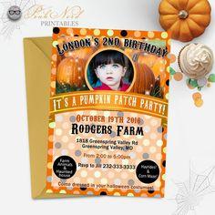 Girl Pumpkin patch birthday invitation fall birthday invitation pumpkin patch party Halloween printable