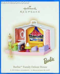 Barbie Family Deluxe House Set of 2 Hallmark Keepsake Christmas Ornaments 2007-own