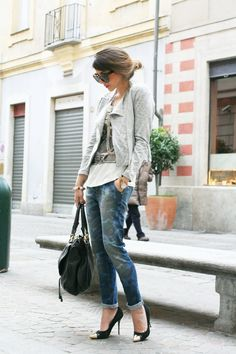 Blazer and boyfriend jeans