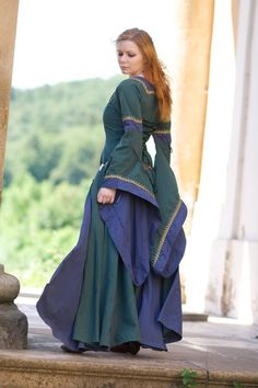 Wayra 12 by liam-stock Blue-green gown Medieval Party, Medieval Gown, Celtic Clothing, Medieval Clothing, Larp, Celtic Dress, Renaissance Fair Costume, Green Gown, Medieval Fashion