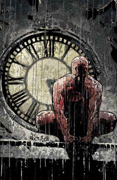 Daredevil in the Rain by Alex Maleev He employs mood and borowed images. Some of my favorite work of his is from his run on Daredevil, Moon Knight, Black Widow, and Scarlett. I highly reccomend his Echo story arc from Daredevil. Comic Book Characters, Comic Book Heroes, Marvel Characters, Comic Character, Comic Books Art, Marvel Comics Superheroes, Hq Marvel, Marvel Heroes, Arte Dc Comics